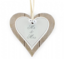 Mr & Mrs Double Heart Plaque